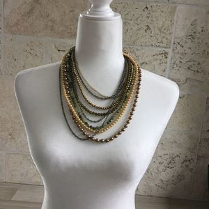 Multi Strand Beads and Chains Necklace